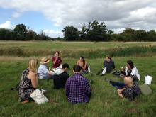 A group of participants learning about the River of Life project, Oxfordshire (Credit: Author)